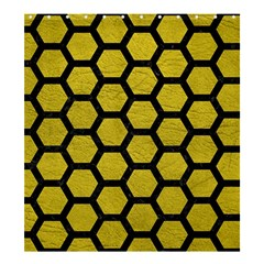 Hexagon2 Black Marble & Yellow Leather Shower Curtain 66  X 72  (large)