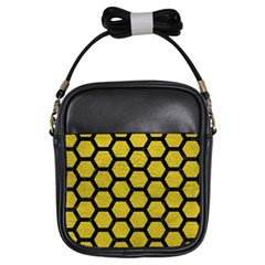 Hexagon2 Black Marble & Yellow Leather Girls Sling Bags