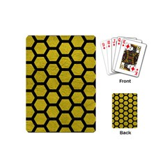 Hexagon2 Black Marble & Yellow Leather Playing Cards (mini)