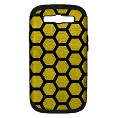 Hexagon2 Black Marble & Yellow Leather Samsung Galaxy S Iii Hardshell Case (pc+silicone)
