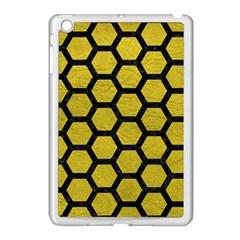 Hexagon2 Black Marble & Yellow Leather Apple Ipad Mini Case (white)
