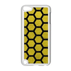 Hexagon2 Black Marble & Yellow Leather Apple Ipod Touch 5 Case (white)
