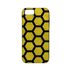 Hexagon2 Black Marble & Yellow Leather Apple Iphone 5 Classic Hardshell Case (pc+silicone)