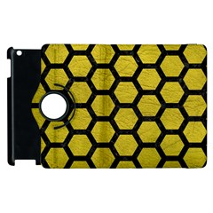 Hexagon2 Black Marble & Yellow Leather Apple Ipad 2 Flip 360 Case