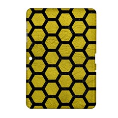 Hexagon2 Black Marble & Yellow Leather Samsung Galaxy Tab 2 (10 1 ) P5100 Hardshell Case