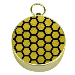 Hexagon2 Black Marble & Yellow Leather Gold Compasses