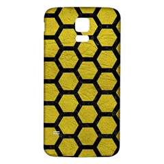 Hexagon2 Black Marble & Yellow Leather Samsung Galaxy S5 Back Case (white)
