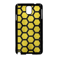 Hexagon2 Black Marble & Yellow Leather Samsung Galaxy Note 3 Neo Hardshell Case (black)