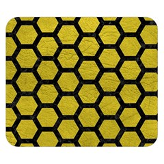 Hexagon2 Black Marble & Yellow Leather Double Sided Flano Blanket (small)