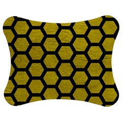 Hexagon2 Black Marble & Yellow Leather Jigsaw Puzzle Photo Stand (bow)