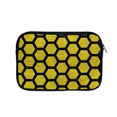 Hexagon2 Black Marble & Yellow Leather Apple Macbook Pro 15  Zipper Case