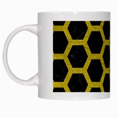 Hexagon2 Black Marble & Yellow Leather (r) White Mugs