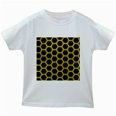 Hexagon2 Black Marble & Yellow Leather (r) Kids White T Shirts