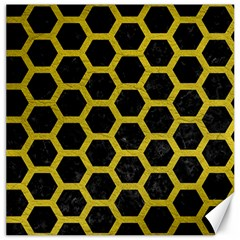 Hexagon2 Black Marble & Yellow Leather (r) Canvas 12  X 12