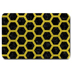 Hexagon2 Black Marble & Yellow Leather (r) Large Doormat