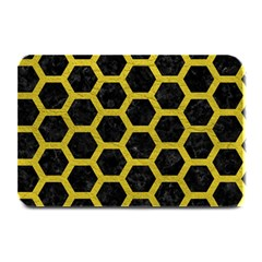 Hexagon2 Black Marble & Yellow Leather (r) Plate Mats