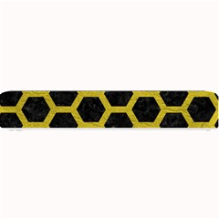 Hexagon2 Black Marble & Yellow Leather (r) Small Bar Mats