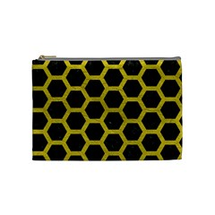 Hexagon2 Black Marble & Yellow Leather (r) Cosmetic Bag (medium)