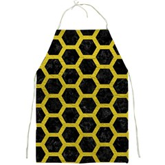 Hexagon2 Black Marble & Yellow Leather (r) Full Print Aprons