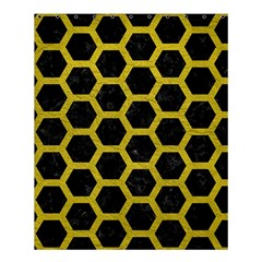 Hexagon2 Black Marble & Yellow Leather (r) Shower Curtain 60  X 72  (medium)