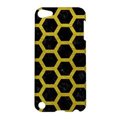 Hexagon2 Black Marble & Yellow Leather (r) Apple Ipod Touch 5 Hardshell Case