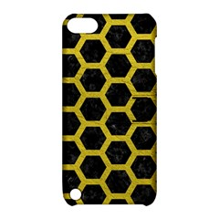 Hexagon2 Black Marble & Yellow Leather (r) Apple Ipod Touch 5 Hardshell Case With Stand