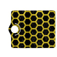 Hexagon2 Black Marble & Yellow Leather (r) Kindle Fire Hdx 8 9  Flip 360 Case