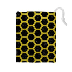 Hexagon2 Black Marble & Yellow Leather (r) Drawstring Pouches (large)