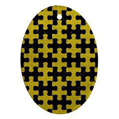 Puzzle1 Black Marble & Yellow Leather Ornament (oval)