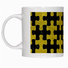 Puzzle1 Black Marble & Yellow Leather White Mugs