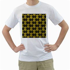 Puzzle1 Black Marble & Yellow Leather Men s T Shirt (white) (two Sided)