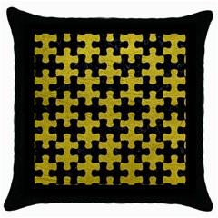 Puzzle1 Black Marble & Yellow Leather Throw Pillow Case (black)