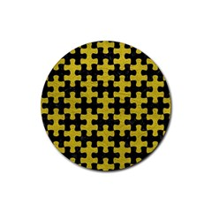 Puzzle1 Black Marble & Yellow Leather Rubber Round Coaster (4 Pack)