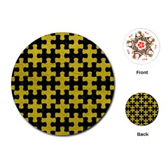 Puzzle1 Black Marble & Yellow Leather Playing Cards (round)