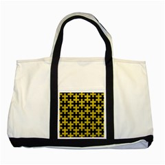 Puzzle1 Black Marble & Yellow Leather Two Tone Tote Bag