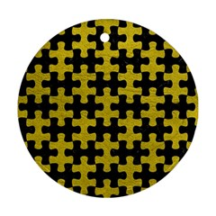 Puzzle1 Black Marble & Yellow Leather Round Ornament (two Sides)