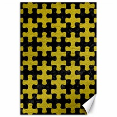 Puzzle1 Black Marble & Yellow Leather Canvas 20  X 30