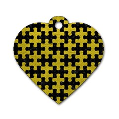 Puzzle1 Black Marble & Yellow Leather Dog Tag Heart (one Side)