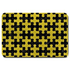 Puzzle1 Black Marble & Yellow Leather Large Doormat