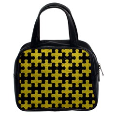 Puzzle1 Black Marble & Yellow Leather Classic Handbags (2 Sides)