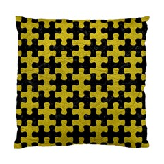 Puzzle1 Black Marble & Yellow Leather Standard Cushion Case (two Sides)