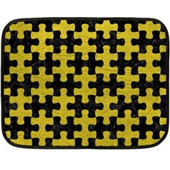 Puzzle1 Black Marble & Yellow Leather Fleece Blanket (mini)