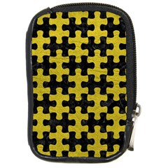 Puzzle1 Black Marble & Yellow Leather Compact Camera Cases