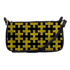 Puzzle1 Black Marble & Yellow Leather Shoulder Clutch Bags