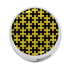 Puzzle1 Black Marble & Yellow Leather 4 Port Usb Hub (two Sides)
