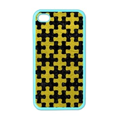 Puzzle1 Black Marble & Yellow Leather Apple Iphone 4 Case (color)