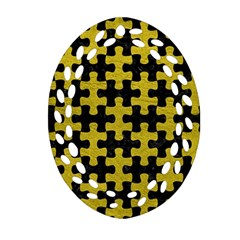 Puzzle1 Black Marble & Yellow Leather Oval Filigree Ornament (two Sides)