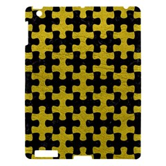 Puzzle1 Black Marble & Yellow Leather Apple Ipad 3/4 Hardshell Case