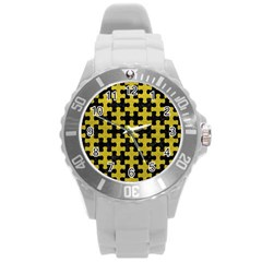 Puzzle1 Black Marble & Yellow Leather Round Plastic Sport Watch (l)