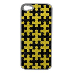 Puzzle1 Black Marble & Yellow Leather Apple Iphone 5 Case (silver)